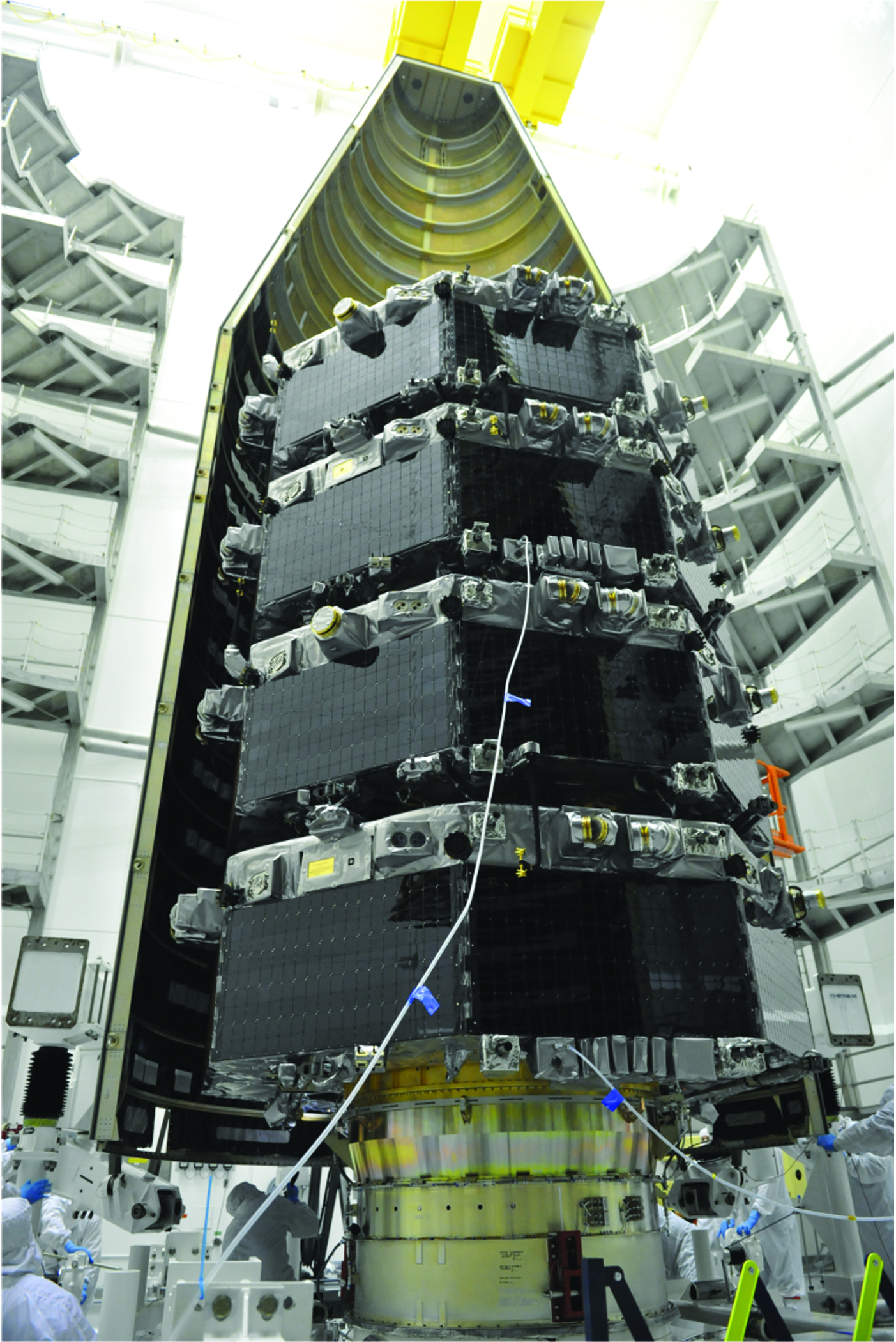 MMS spacecraft in stacked position within protective fairing.