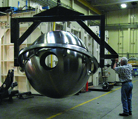 Sphere mounted for electron beam welding.