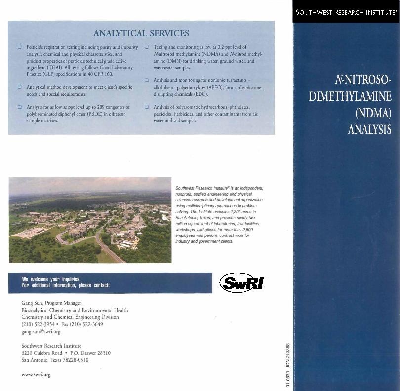 Go to N-Nitroso-Dimethylamine (NDMA) Analysis brochure