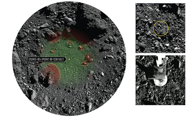 3 different images showing the location of contact on OSIRIS-REx
