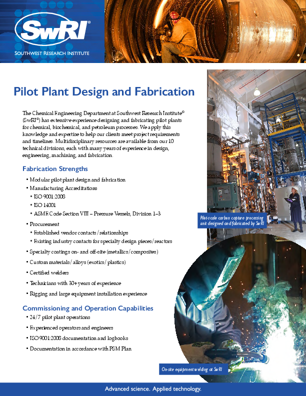 Go to Pilot Plant Design and Fabrication Flyer