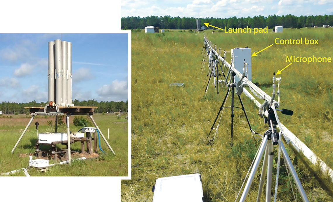 Left image: Wire-grounded model locket on launch pad; Right image - microphone array in grassy field
