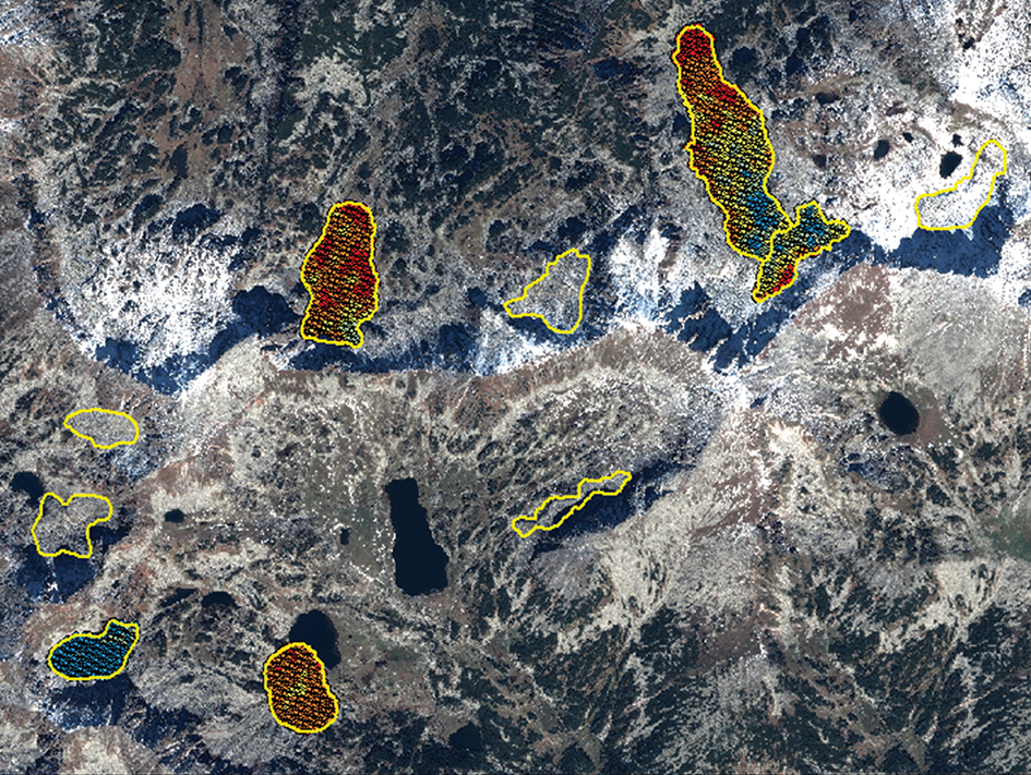 Satellite radar imagery helping to measure seasonal line-of-sight displacements of rock glaciers
