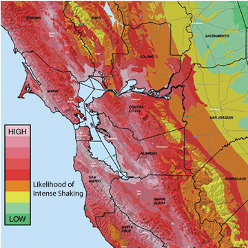 Map illustrating the expected levels of shaking in the San Francisco Bay area