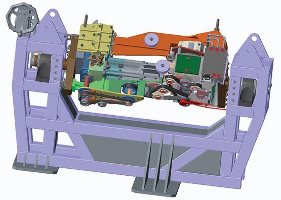 3D mock up of single-cylinder test engine