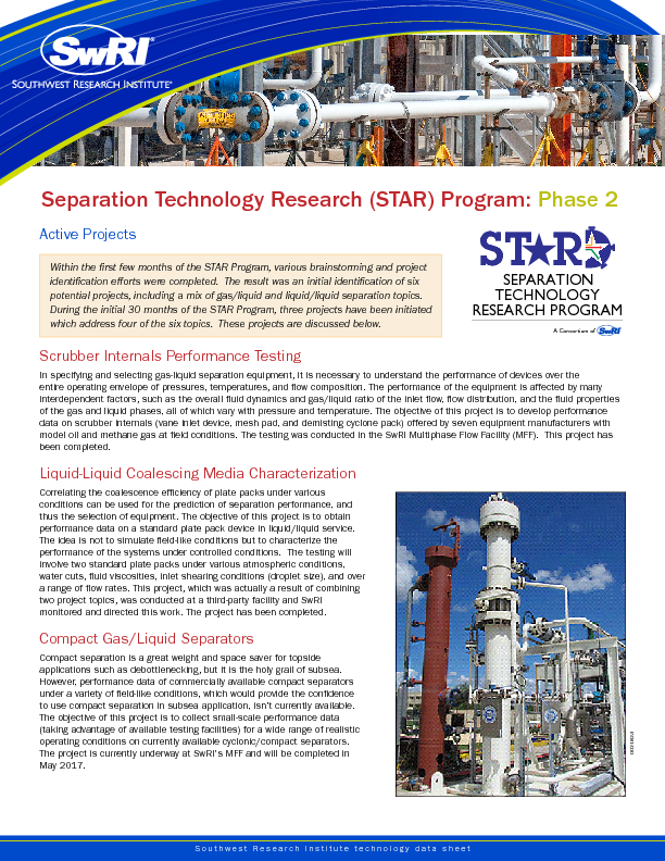 Go to Separation Technology Research (STAR) Program: Phase 2 Projects flyer