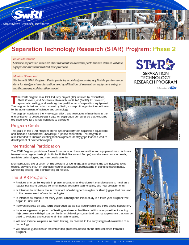 Go to Separation Technology Research (STAR) Program: Phase 2 flyer