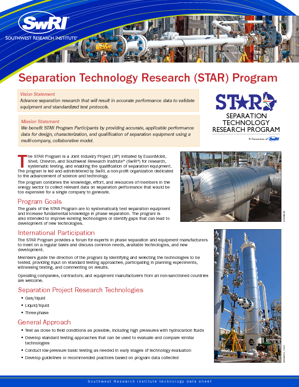 Go to Separation Technology Research (STAR) Program flyer