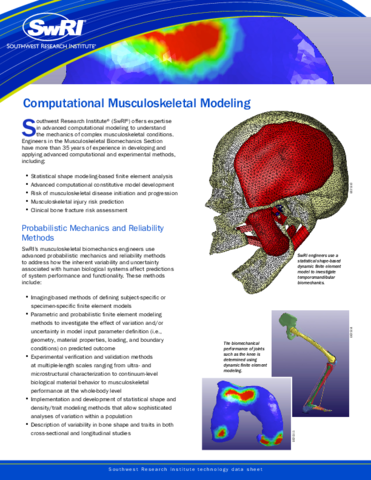 Go to Computational Musculoskeletal Modeling brochure
