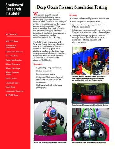 Go to deep ocean pressure simulation flyer