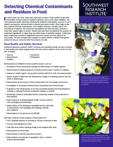 Go to Detecting Chemical Contaminants & Residues in Food brochure