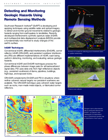 Go to Detecting and Monitoring Geologic Hazards Using Remote Sensing Methods brochure