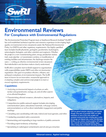 Go to Environmental Reviews flyer