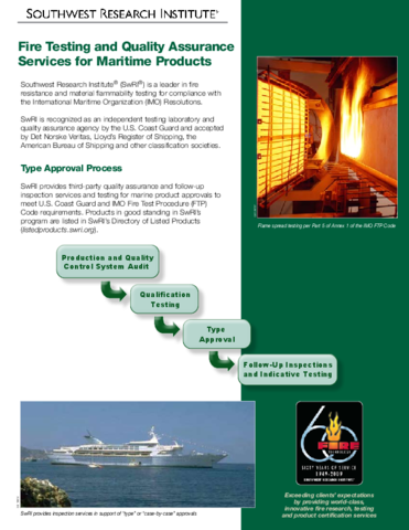 Go to fire testing and quality assurance services for maritime products flyer