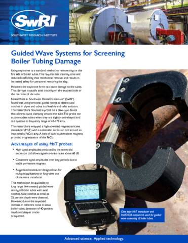 Go to Guided Wave Systems for Screening Boiler Tubing Damage flyer
