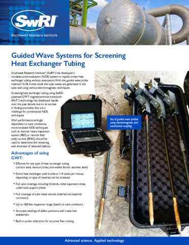 Go to Guided Wave Systems for Screening Heat Exchanger Tubing flyer