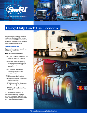 Go to Heavy-Duty Truck Fuel Economy flyer