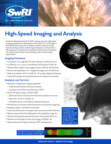 Go to High-Speed Imaging & Analysis flyer