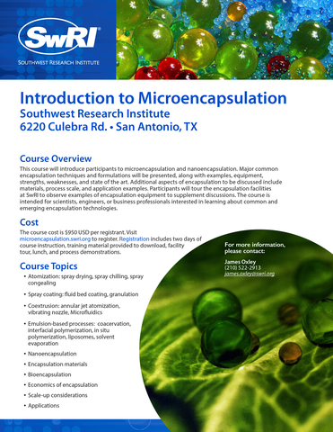 Go to Introduction to Microencapsulation flyer