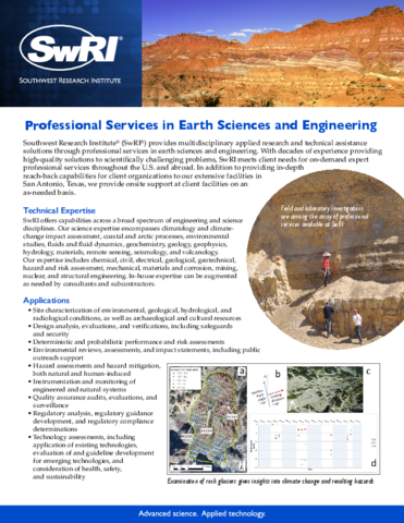 Go to professional services in earth sciences and engineering flyer
