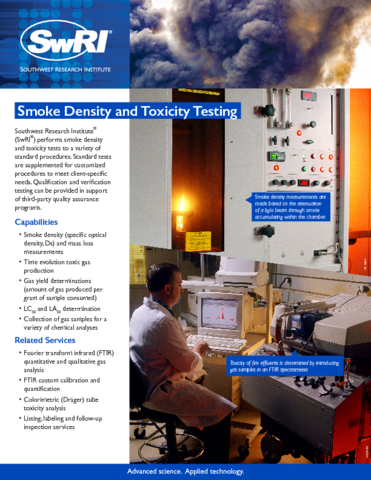 Go to Smoke Density & Toxicity Testing flyer