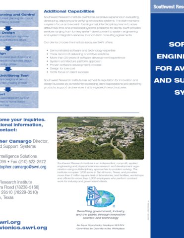 Go to software engineering for avionics & support systems flyer