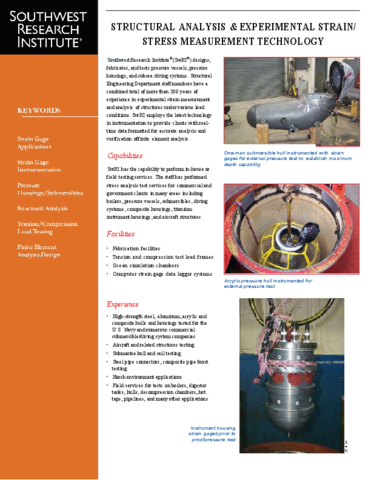 Go to Structural Analysis and Experimental Strain/Stress Measurement Technology brochure