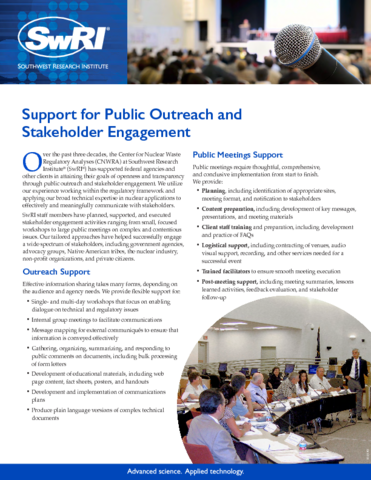 Go to Support for Public Outreach & Stakeholder Engagement flyer