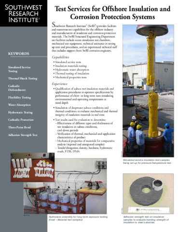 Go to Test Services for Offshore Insulation and Corrosion Protection Systems