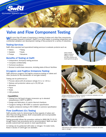 Go to Valve and Flow Component Testing flyer