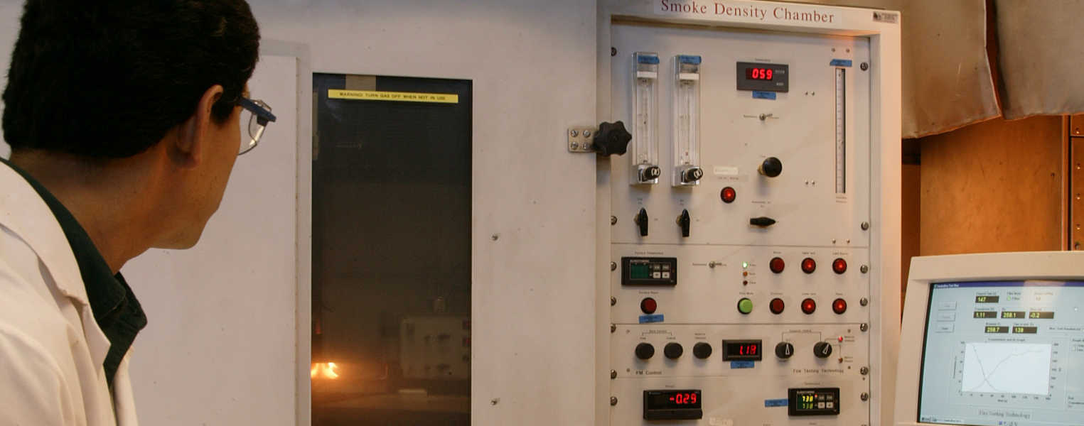 SwRI performs the ISO 5659 test to determine industry compliance to fire risk and hazard criteria of accumulated products of combustion (smoke density, off-gassing and toxicity elements).