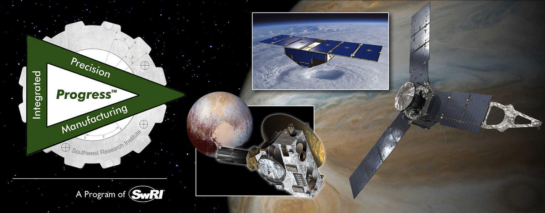 Collage of satellites over Jupiter
