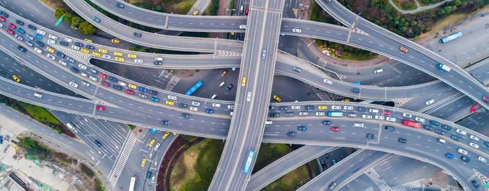 Freeway interchange - aerial view