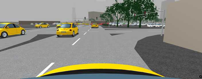 simulation of connected yellow cars on the road