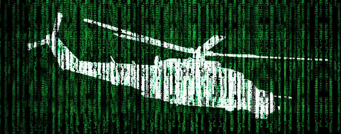 Green lines of encrypted code with a white helicopter imposed on top