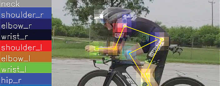man on a bicycle with biomechanical data overlayed