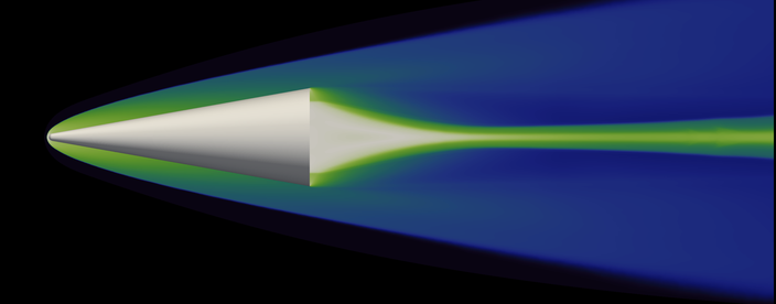 Hypersonics Research silver cone graphic with green flare and blue triangle background
