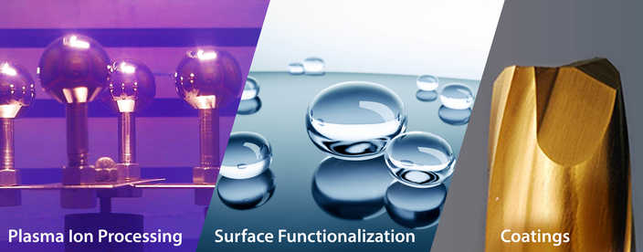 Three panel image showing from left to right plasma ion processing, surface functionalization, and coatings
