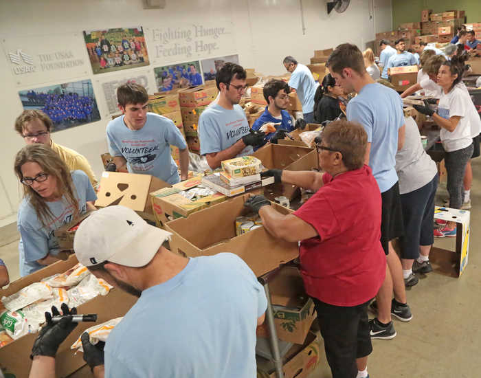 SwRI staff volunteer at the Food Bank