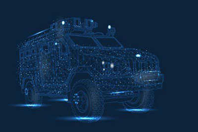 Armored vehicle graphic with mesh reinforcement