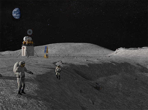 Astronauts and equipment on the moon surface