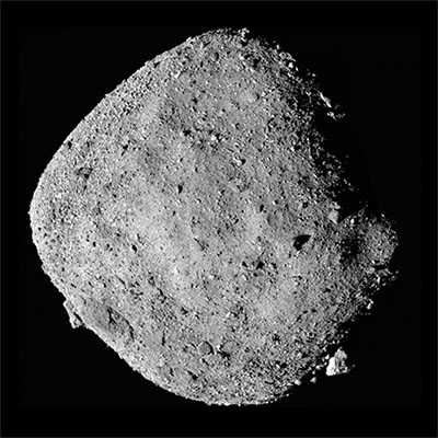 Black and white photo of asteroid Bennu