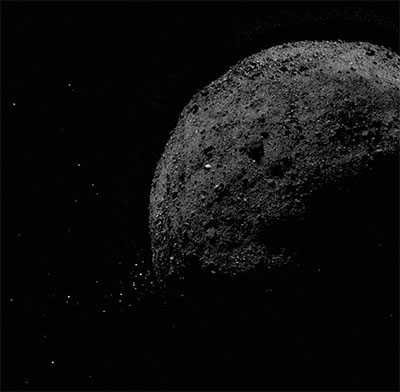 black and white image of Bennu