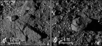Black and white close-ups of the surface of Bennu