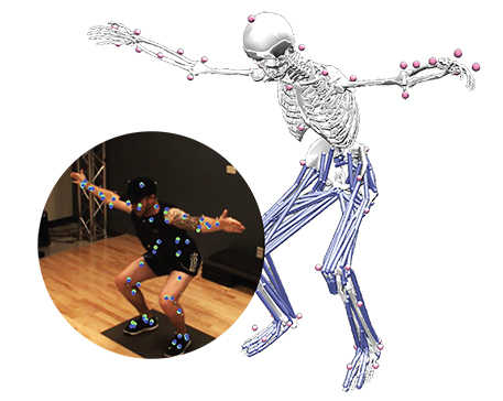 man in squat position with arms stretched out with biocap markers. offset is a skeleton in same position