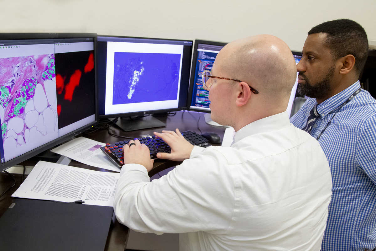 Researchers reviewing results on screen