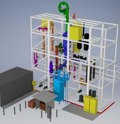 A computer model of a plastics recycling pyrolysis unit