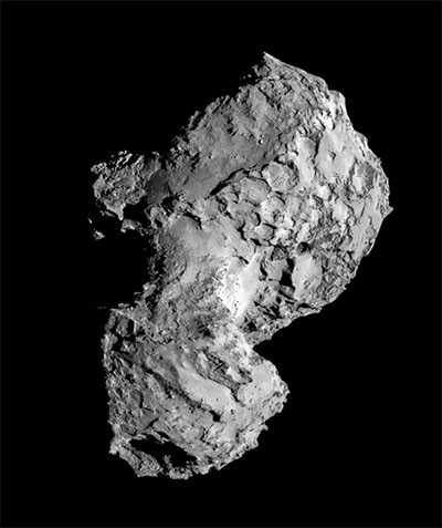 black and white image of comet