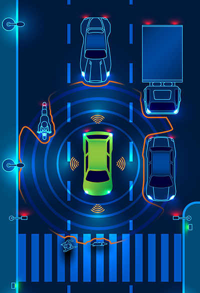 Graphic showing a vehicle connected with and sensing its surroundings