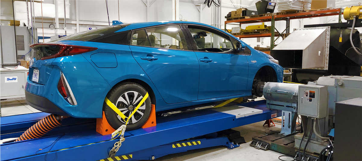 Blue car on a test stand